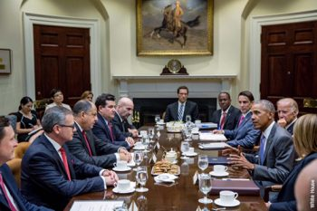 The President attended a meeting today between the Vice President and President Luis Guillermo Solis of Costa Rica at the White House to discuss the overall situation in Central America and new steps to improve security and governance