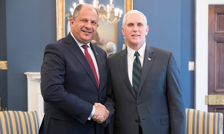 President Luis Guillermo Solís of Costa Rica and U.S. Vice President Mike Pence
